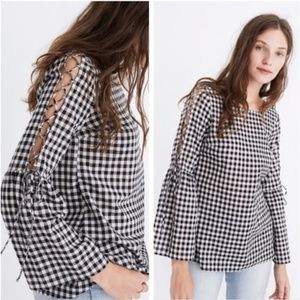 [Madewell] Gingham Lace-Up Bell Sleeve Top